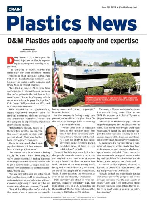 D&M Plastics adds capacity and expertise - Plastics News